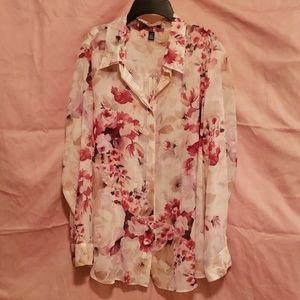 2X Chaps long sleeve button up blouse